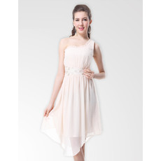 Inexpensive One Shoulder Knee Length Chiffon Bridesmaid Dress