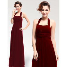 Affordable Sexy Sheath Halter Floor Length Chiffon Bridesmaid Dress