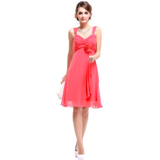 Inexpensive Empire Straps Knee Length Chiffon Summer Bridesmaid Dress