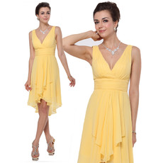 Inexpensive Custom Sheath V-Neck Knee Length Chiffon Bridesmaid Dress