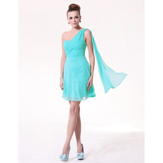 A-Line One Shoulder Short Chiffon Bridesmaid Dress for Summer Wedding