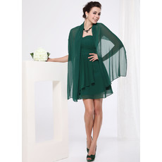 Custom A-Line Sweetheart Short Chiffon Bridesmaid Dress with Scarfs
