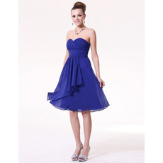 Beautiful Empire Sweetheart Knee Length Blue Chiffon Bridesmaid Dress for Maid of honour