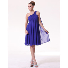 Sexy Empire One Shoulder Knee Length Chiffon Bridesmaid Dress