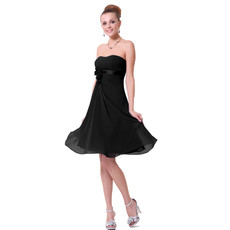 Simple Empire Strapless Short Black Chiffon Bridesmaid Dress for Maid of honour