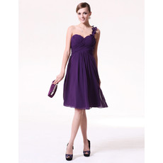 Inexpensive Custom A-Line One Shoulder Short Chiffon Bridesmaid Dress