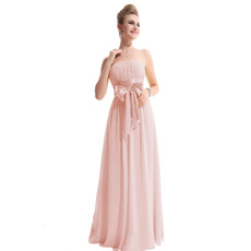 Cheap Designer Elegant Strapless Floor Length Chiffon Bridesmaid Dress for Maid of honour