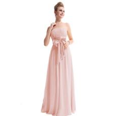 Cheap Designer Elegant Strapless Floor Length Chiffon Bridesmaid Dress for Maid of honour