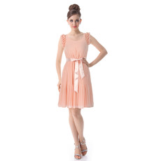 Affordable Sheath Round Short Chiffon Bridesmaid Dress for Summer