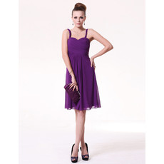 Cheap Classy Custom Sheath Straps Short Purple Chiffon Bridesmaid Dress for Maid of honour