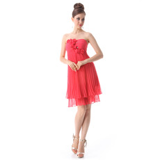 Inexpensive Beautiful Empire Waist Strapless Short Chiffon Bridesmaid Dress