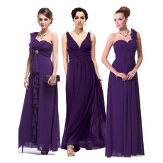 Affordable Unique Best Sheath Long Purple Chiffon Bridesmaid Dress for for Maid of honour
