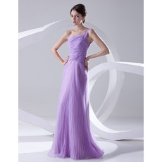 Designer A-Line One Shoulder Floor Length Chiffon Evening Prom Dress