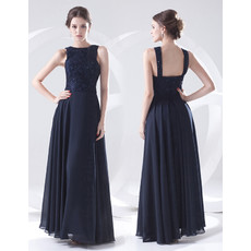 Elegant Sheath Floor Length Blue Chiffon Evening Prom Dress for Women