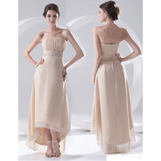 Beautiful Sheath Strapless High Low Chiffon Evening Prom Dress for Women