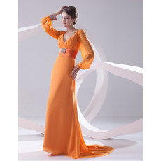 Elegant V-Neck Long Sleeves Long Chiffon Prom Evening Dress for Women