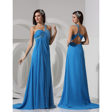 Sexy Sheath One Shoulder Sweep Train Chiffon Prom Evening Dress for Women