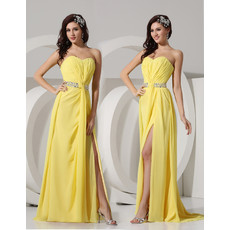 Sheath Sweetheart Long Yellow Chiffon Evening Prom Dress for Women