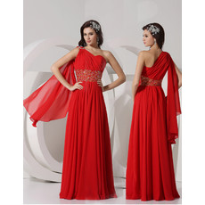 Beautiful Sheath One Shoulder Long Red Chiffon Evening Prom Dress