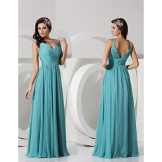 Cheap Classy Sheath V-Neck Long Chiffon Evening Prom Dress for Women