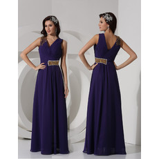 Classy Sheath V-Neck Long Chiffon Purple Prom Evening Dress for Women