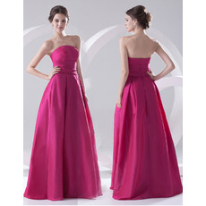 Cheap A-Line Strapless Floor Length Satin Evening Prom Dress for Women