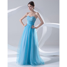Cheap A-Line Sweetheart Long Light Blue Organza Evening Prom Dress