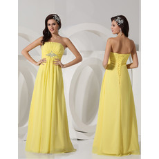 Elegant Strapless Long Chiffon Yellow Prom Evening Dress for Women