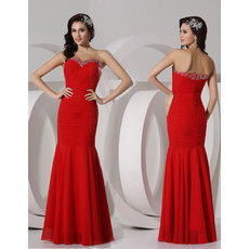 Cheap Mermaid Sweetheart Long Red Chiffon Evening Prom Dress for Women