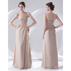 Elegant Sheath One Shoulder Floor Length Chiffon Evening Prom Dress