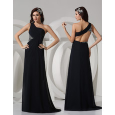 Sexy Sheath One Shoulder Floor Length Satin Black Prom Evening Dress