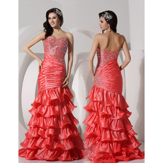 Beautiful Mermaid Sweetheart Sweep Train Satin Prom Evening Dress