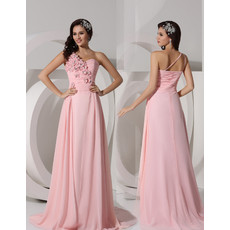 A-Line One Shoulder Sweep Train Pink Chiffon Prom Evening Dress for Women