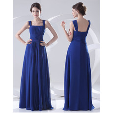 Designer Sheath Square Long Blue Chiffon Prom Evening Dress for Women