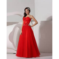 Designer A-Line Sweetheart Long Red Organza Formal Evening Prom Dress