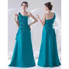 Beautiful Sheath One Shoulder Floor Length Satin Prom Evening Dress for Women