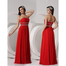 Classy Sheath Strapless Long Red Chiffon Evening Dress for Women