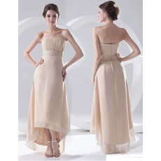 Designer Sheath Strapless Asymmetric Chiffon Prom Evening Dress