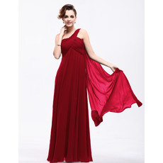 Best Elegant Empire Waist One Shoulder Chiffon Long Prom Evening Dress for Sale