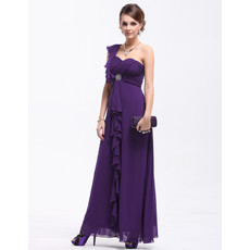 Discount Women's Sexy One Shoulder Chiffon Maxi Prom Evening Dress for Sale