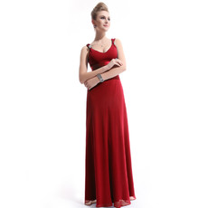 Custom Women's Chiffon Sheath V-Neck Long Prom Evening Dress for Sale