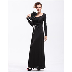Women's Designer Long Sleeves Sheath Long Black Satin Prom Evening Dress for Sale