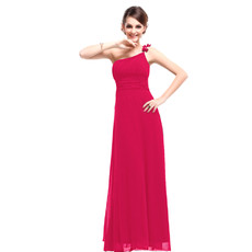 Women's Designer One Shoulder Chiffon Sheath Floor Length Prom Evening Dress for Sale
