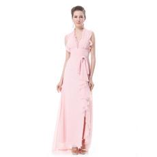 Women's V-Neck Chiffon Split Sheath Long Prom Evening Dress for Sale