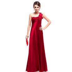 Women's Elegant One Shoulder Satin Sheath Floor Length Prom Evening Dress for Sale