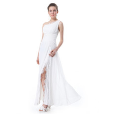 Inexpensive Elegant One Shoulder Split Chiffon Long Prom Evening Dress for Sale