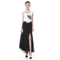 Cheap Custom Designer One Shoulder Split Maxi White and Black Prom Evening Dress for Women