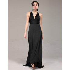 Affordable Designer V-Neck Black Chiffon Sheath Long Evening Prom Dress for Women