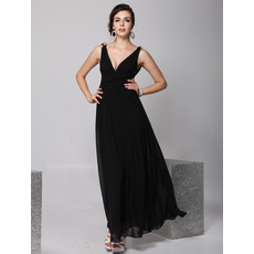 Cheap Designer V-Neck Black Chiffon Ankle Length Sheath Evening Wear Dress for Women