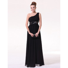 Cheap Classy Sheath One Shoulder Black Chiffon Long Formal Evening Prom Dress for Women